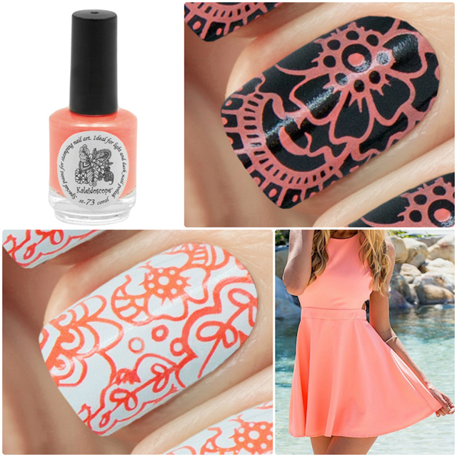 краска для стемпинга, Special paint for stamping nail art №st-73 coral