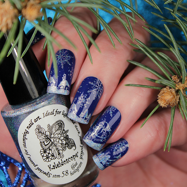 краска для стемпинга, Special paint for stamping nail art Stm-58 Blue Hologram